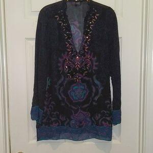 Hale Bob purple  sheer tunic Sz. S. NWOT